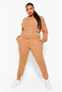 Toffee beige Plus Gebreide Trui & Joggingbroek Set