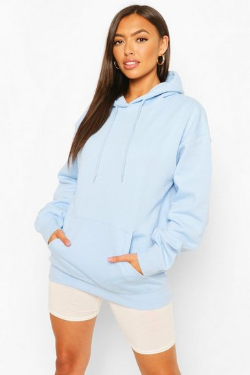 Light blue blue Blue Petite Basic Hoody