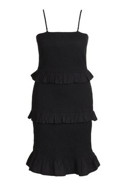 Black Plus Beach Shirred Dress