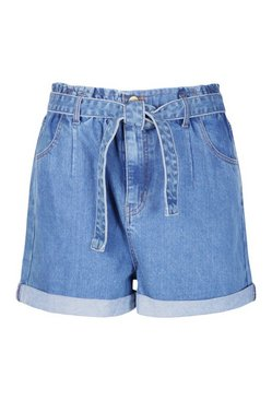 Blue Plus Denim Belted High Waist Shorts