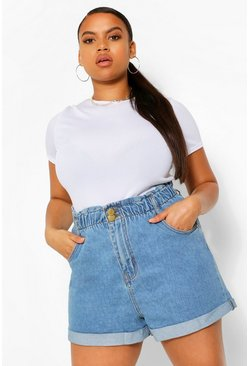 Mid blue Plus Denim Paperbag High Waist Shorts
