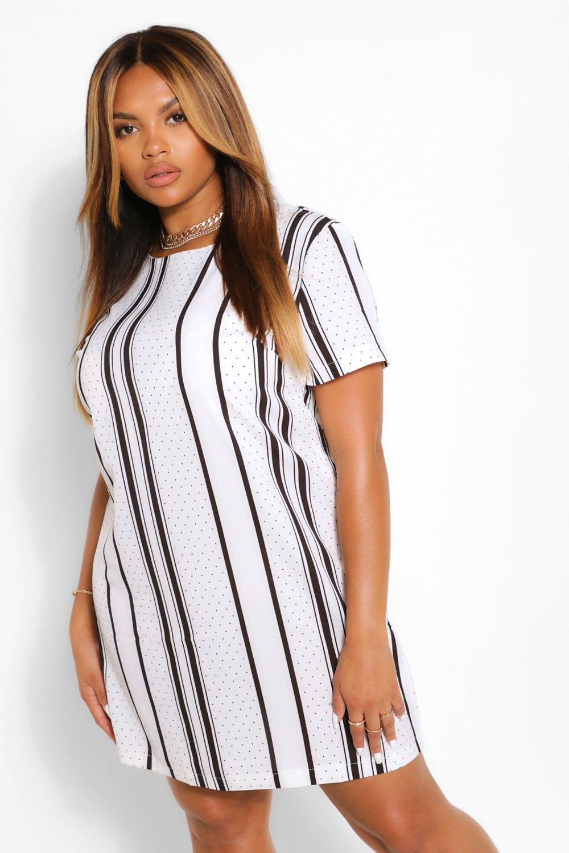 Plus Polka Dot Stripe Shift Dress 6