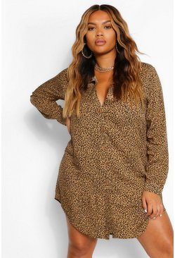 Tan brown Plus Leopard Printed Shirt Dress