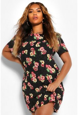 Black Plus Floral Rose Cap Sleeve Shift Dress