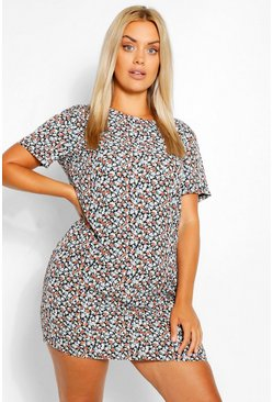 Navy Plus Ditsy Floral Cap Sleeve Shift Dress