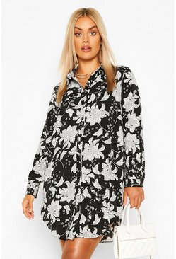 Black Plus Paisley Printed Shirt Dress