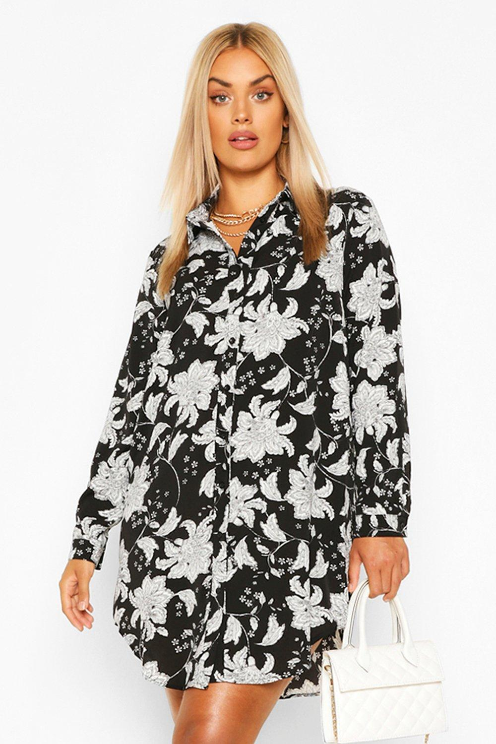Plus Paisley Printed Shirt Dress 6