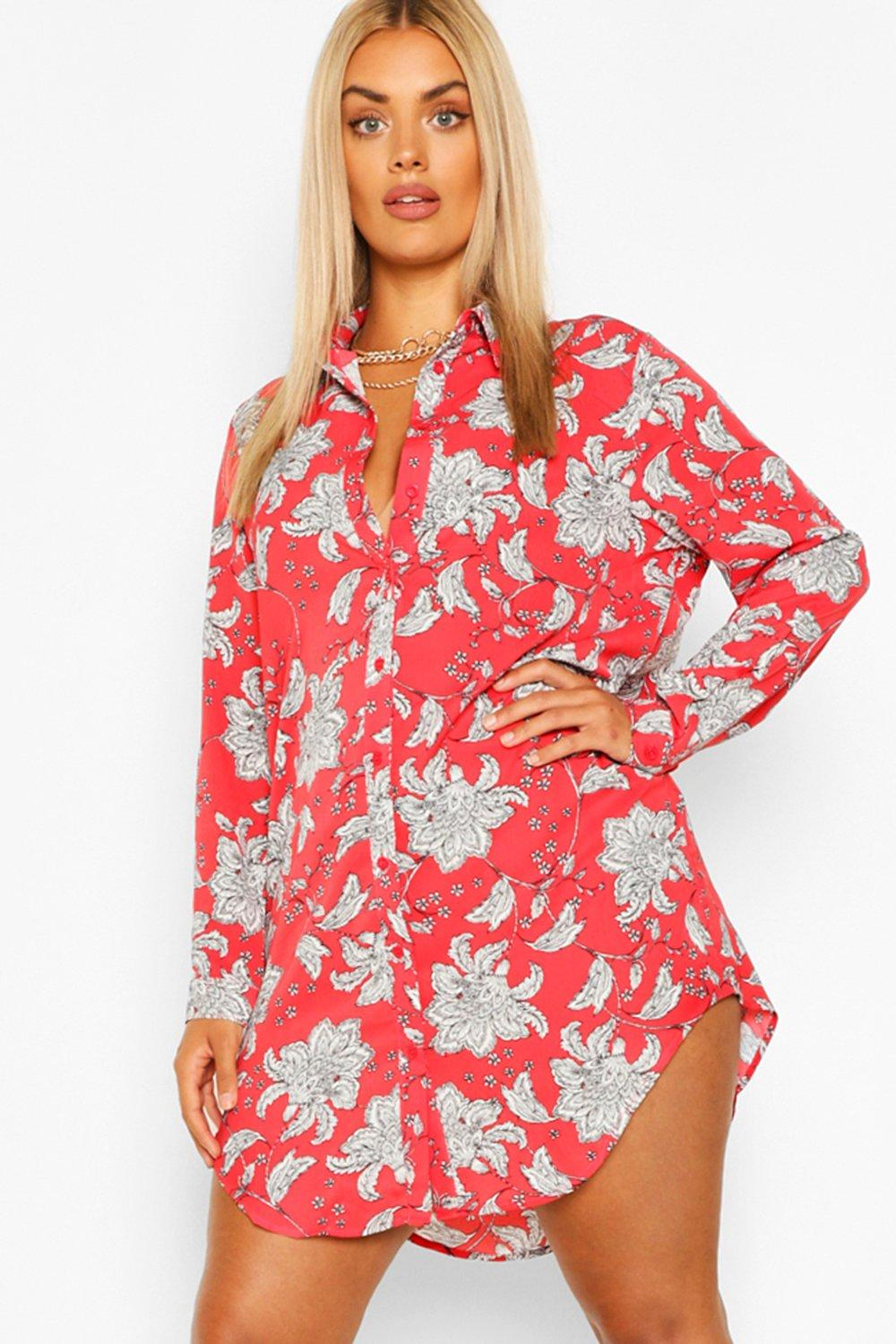 Plus Paisley Printed Shirt Dress 7