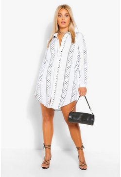 Cream white Plus Polka Dot Stripe Shirt Dress