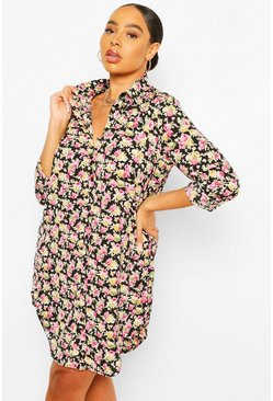 Black Plus Ditsy Floral Print Shirt Dress