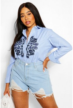 Blue Plus Stripe Embroidered Shirt