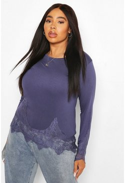 Indigo blue Plus Lace Trim Longsleeve T-Shirt