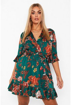 Green Plus Oriental Floral Wrap Belted Dress