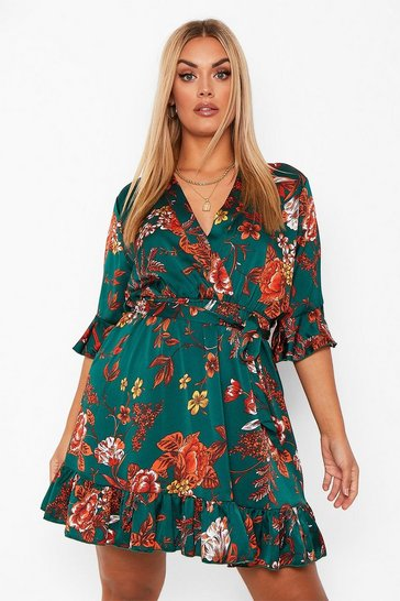 Green Plus Floral Wrap Belted Dress
