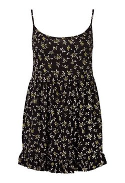 Black Plus Ditsy Ruffle Floral Sundress
