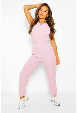 Lilac lila Petite - Oversize ribbade joggers