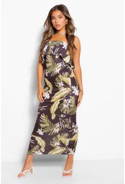 Black Petite Tropical Print Bandeau Maxi Dress