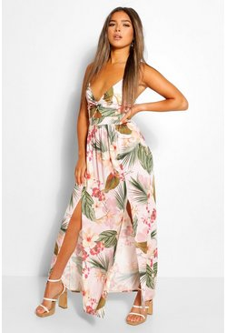 Pink Petite Twist Front Tropical Maxi Dress