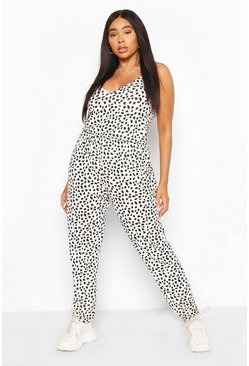 Ivory white Plus Dalmation Print Basic Cami Jumpsuit