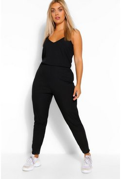 Black Plus Rib Basic Cami Jumpsuit