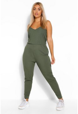 Khaki Plusmaat geribd basic jumpsuit hemdje