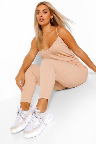 Stone beige Plus Rib Basic Cami Jumpsuit
