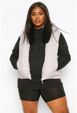 Grey Plus Basic Puffer Gilet