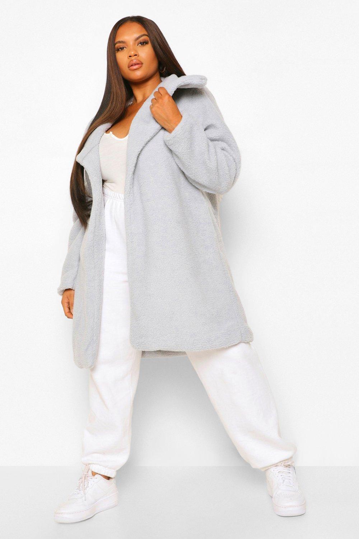 Plus Size Clothing Plus Teddy Faux Fur  Midi Coat