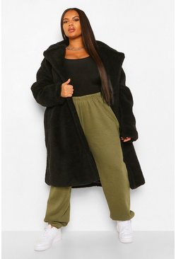 Black Plus Teddy Faux Fur Pocket Detail Maxi Coat