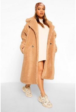 Caramel beige Plus Teddy Faux Fur Pocket Detail Maxi Coat