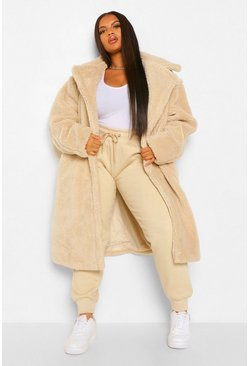 Cream white Plus Teddy Faux Fur Pocket Detail Maxi Coat