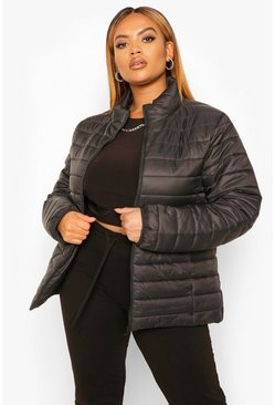 Black Plus Basic Puffer  Coat
