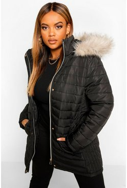 Black Plus Faux Fur Trimmed Puffer Belted Coat