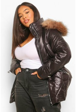 Black Plus Faux Fur Trimmed High Shine Puffer Coat