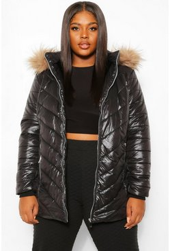 Black Plus High Shine Faux Fur Trimmed Puffer Coat
