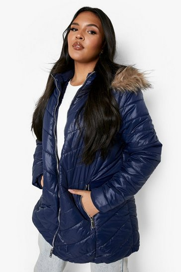 Navy Plus High Shine Faux Fur Trimmed Puffer Coat