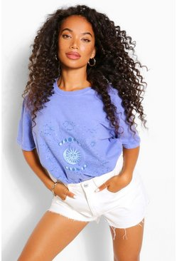 Blue Petite Tie Dye Constellations Printed T-Shirt