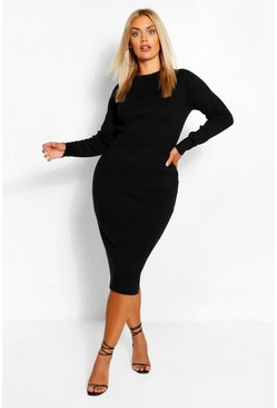 Black Plus Fluffy Knitted Jumper & Skirt Set