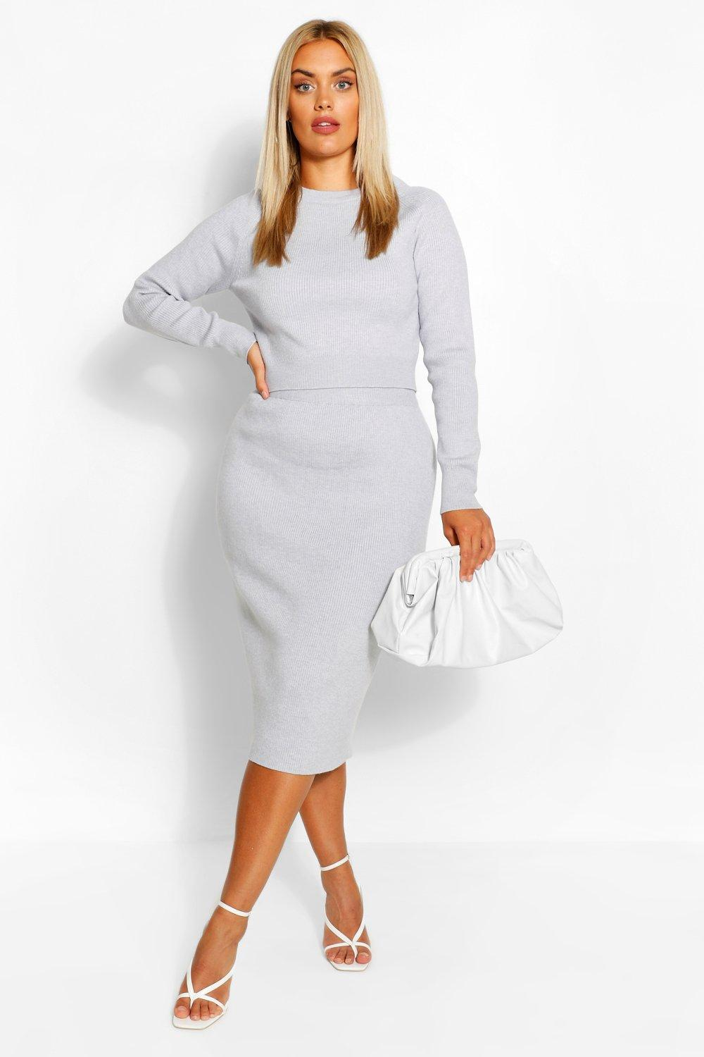 Plus Fluffy Knitted Jumper & Skirt Set 6
