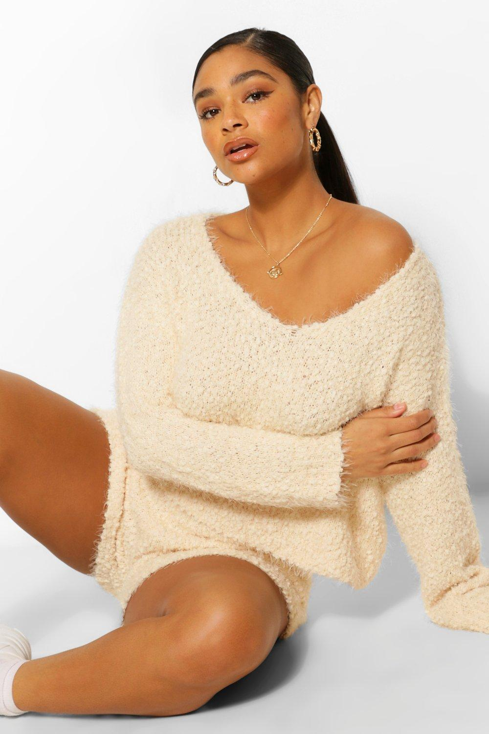 Plus Fluffy Knitted Jumper And Short Lounge Set 16