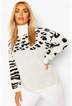 Cream white Plus Animal Pattern Oversized Jumper