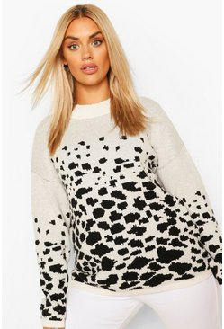 Cream white Plus Animal Oversized Jumper