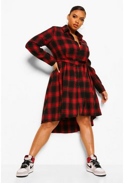 Red Plus  Check Wrap Belted Shirt Dip Hem Midi Dress
