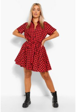 Red Plus Gingham Tie Waist Shirt Dress