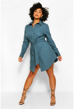 Navy Plus Self Belted Shirt Dress