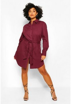 Red Plus Self Belted Shirt Dress