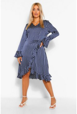 Navy Plus Polka Dot Satin Ruffle Wrap Dress
