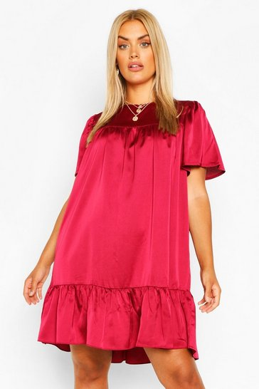 Berry red Plus Satin Ruffle Tiered Smock Dress
