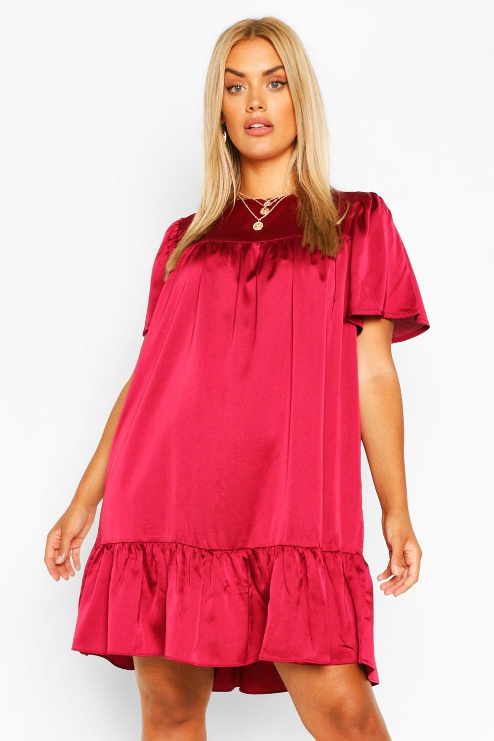 Plus Satin Ruffle Tiered Smock Dress 8