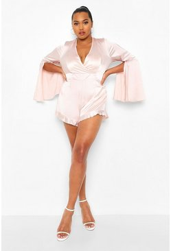 Blush pink Plus Satijnen Wikkel Playsuit Met Ruches